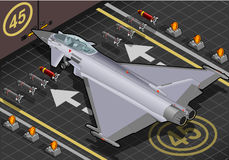 Isometric Eurofighter Landed in Rear View Royalty Free Stock Image