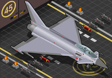 Isometric Eurofighter Landed in Front View Royalty Free Stock Image