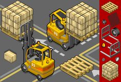 Isometric forklift in four different positions Stock Photo