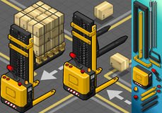 Isometric Forklift in Two Positions Stock Image