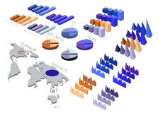 Detailed illustration of a Isometric Infographic Set Royalty Free Stock Photos