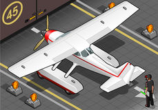 Isometric Landed Seaplane Out of Hangar Royalty Free Stock Images