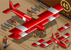 Isometric Red Biplane Landed in Front View Stock Image