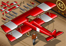 Isometric Red Biplane Landed in Rear View Stock Photos
