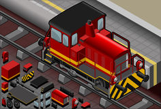Isometric Red Train in Front View Stock Image