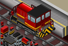 Isometric Red Train in Rear View Stock Images