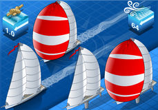 Isometric sailships in navigation Royalty Free Stock Photography