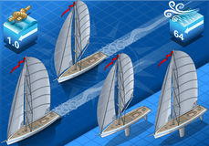 Isometric sailships in navigation Stock Image