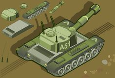 Isometric tank in rear view. Detailed illustration of a isometric tank in rear view Stock Photo