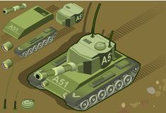Isometric tank in rear view. Detailed illustration of a isometric tank in rear view Stock Image