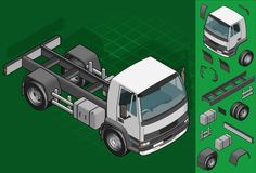 Isometric truck solo driving in front view Royalty Free Stock Image