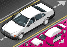 Isometric white car in front view Royalty Free Stock Photography