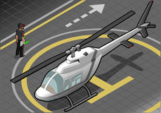 Isometric white helicopter landed in front view Stock Photography