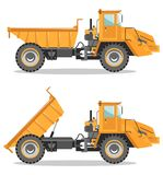 Off-highway truck with different body position. Heavy mining machine and construction equipment. Vector illustration. Detailed illustration of mining truck. Off Royalty Free Stock Photo