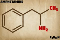 Detailed illustration of the molecule of Amphetamine Stock Image