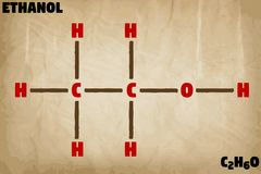 Detailed illustration of the molecule of Ethanol Royalty Free Stock Photography