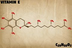 Detailed illustration of the molecule of Vitamin E Royalty Free Stock Photo