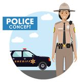 Policeman concept. Detailed illustration of sheriff in uniform on background with police car in flat style. Vector. Detailed illustration of police officer in stock illustration