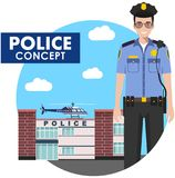 Policeman concept. Detailed illustration of standing police officer in uniform on background with police department and Stock Photo