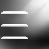 Detailed illustration of shelves on black. Stock Photo