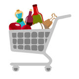 Shopping cart. Detailed illustration of a shopping cart isolated on white Royalty Free Stock Images