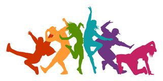 Detailed illustration silhouettes of expressive dance people dancing. Jazz funk, hip-hop, house dance lettering. Dancer. NDetailed illustration silhouettes of stock illustration