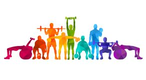 Detailed  illustration silhouettes strong rolling people set girl and man sport fitness gym body-building workout powerlifti. Ng health training dumbbells Royalty Free Stock Photography