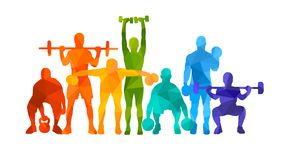 Detailed  illustration silhouettes strong rolling people set girl and man sport fitness gym body-building workout powerlifti. Ng health training dumbbells Royalty Free Stock Photo