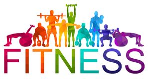 Detailed  illustration silhouettes strong rolling people set girl and man sport fitness gym body-building workout powerlifti. Ng health training dumbbells Royalty Free Stock Images