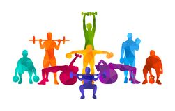 Detailed  illustration silhouettes strong rolling people set girl and man sport fitness gym body-building workout powerlifti. Ng health training dumbbells Stock Photo