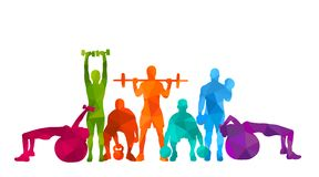 Detailed  illustration silhouettes strong rolling people set girl and man sport fitness gym body-building workout powerlifti. Ng health training dumbbells Stock Photography