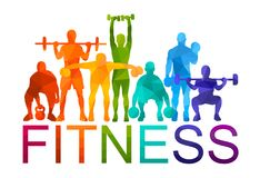Detailed  illustration silhouettes strong rolling people set girl and man sport fitness gym body-building workout powerlifti. Ng health training dumbbells Stock Images