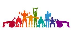 Detailed  illustration silhouettes strong rolling people set girl and man sport fitness gym body-building workout powerlifti. Ng health training dumbbells Royalty Free Stock Photos