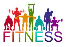 Detailed  illustration silhouettes strong rolling people set girl and man sport fitness gym body-building workout powerlifti. Ng health training dumbbells Stock Photos