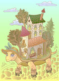 Detailed  illustration. Travel . Tortoise riding rollers.fantasy . House on wheels . Relocation.  Fairy town .children . dream. Royalty Free Stock Image