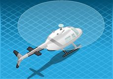 Isometric white helicopter in flight Royalty Free Stock Images