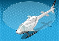Isometric white helicopter in flight Royalty Free Stock Photography