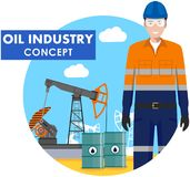 Oil industry concept. Detailed illustration of worker on background with oil pump and barrels with fuel flat style on white backgr Stock Photos
