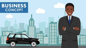 Business concept. Detailed illustration of young african american businessman on background with black car and cityscape Stock Photos