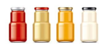 Bottles for sauces and canned food stock image