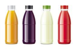 Juices bottles mockups set vector illustration