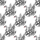 Black swan vector seamless repeat pattern Stock Image