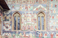 Detailed image of painted wall and windows of Sucevita Monaster Royalty Free Stock Photos