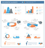 Detailed infographic elements set with  graphics and charts Royalty Free Stock Images