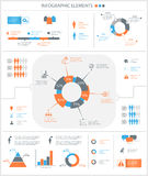 Detailed infographic elements set with graphics and charts Royalty Free Stock Image