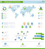 Detailed infographic elements set with world map graphics and ch Stock Photos