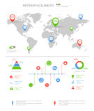 Detailed infographic elements set with world map graphics and ch Stock Image