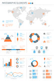 Detailed infographic elements set with world map graphics and ch Royalty Free Stock Photography