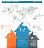 Detailed infographic elements set with world map graphics and ch Royalty Free Stock Image