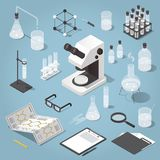 Chemistry laboratory objects set. Detailed isometric illustration of chemical laboratory equipment. Set of various test tubes, flask, jars and bottles with Stock Photography